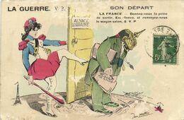 Satirique Jean Metteix LA GUERRE V2 SON DEPART Recto Verso - Patriotic