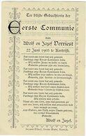 VERRIEST A. En J. - Eerste Communie Prentje - KORTRIJK 1905 - Imágenes Religiosas