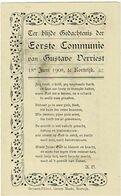 VERRIEST G. - Eerste Communie Prentje - KORTRIJK 1908 - Imágenes Religiosas