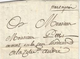 """1784- Lettre De GRENOBLE  ( Isère )   """" Pare Exprès  """"  Sans Marque De Départ Ni Taxe  ( Par Porteur ) - 1701-1800: Vorläufer XVIII"""