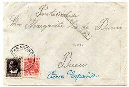 Frontal De Carta  Con Censura Militar  Y Con Sello Especial Movil  Matasellos Maranchon Guadalajara - 1931-50 Storia Postale