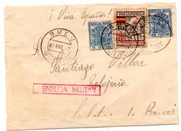Frontal De Carta  Con Censura Militar  Y Con Sello Especial Movil  Matasellos Bueu. 1937 - 1931-50 Lettres