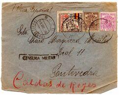 Frontal De Carta  Con Censura Militar  Y Con Sello Especial Movil  Matasellos Bueu. 1936 - 1931-50 Lettres