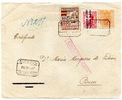 Frontal De Carta  Con Censura Militar  Y Con Sello Especial Movil  Matasellos Certificado Caldas De Reyes. - 1931-50 Lettres