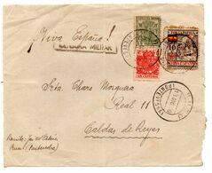 Frontal De Carta  Con Censura Militar  Y Con Sello Especial Movil  Matasellos Bueu.1936 - 1931-50 Lettres
