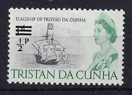 Tristan Da Cunha: 1971   QE II - Ships - Decimal Currency Surcharge  SG137    ½p On 1d    MH - Tristan Da Cunha