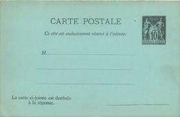 ENTIER POSTAL CARTE POSTALE Avec Réponse  Type Sage 10 Cts Noir   LUXE - Letter Cards