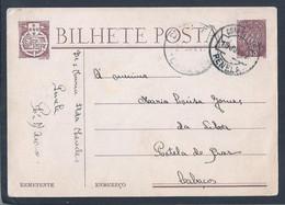Postal Stationery Circulado De Penela Para Portela De Braz. Cabaços, Moimenta Da Beira. Caravela. - 1910-... République
