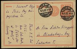 S5765 DR Infla GS Postkarte :gebraucht Thale Harz - Blankenburg 1922, Bedarfserhaltung. - Brieven En Documenten