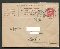 Montmorillon Lettre Chasse Pêche Coutellerie F. Bournique Ancienne Maison Thimothée VN 641 - Verzamelingen