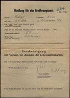 S5302 - DR Meldung Für Das Ernährungsamt : Gebraucht Wilhelmshaven 1945, Bedarfserhaltung. - Duitsland