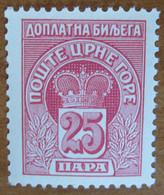 1907 MONTENEGRO Fiscali Revenue Tax Postage Due - Corone-  25 Para - Nuovo MNH - Montenegro