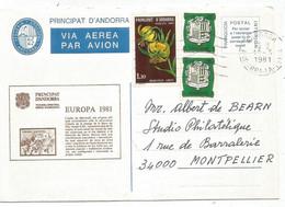 ANDORRE BLASON 5C PAIRE +1FR30 LETTRE AVION ANDORRA 19.3.1981 - Andorra Francese