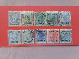 AUSTRIA 1890/1915 - LEVANTE - 10 Valori Differenti Timbrati + Spese Postali - Levant Autrichien