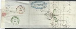 """L De PARIS/1849 Pour Liège + """"8"""" Au Tampon Vert (non Repris Chez VDLinden) + FRANCE PAR QUIEVRAIN / N°1 En Vert. RR - Ambulants"""