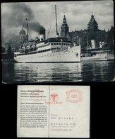 S4911 DR Postkarte AK Schiff , Stettin: Gebraucht Mit Werbe Freistempel Leipzig 1937 , Bedarfserhaltung. - Germany