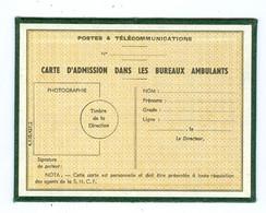 Carte Cartonnée D'admission Dans Les Bureaux Ambulants ( Tri Dans Les Trains SNCF) - Documentos Del Correo