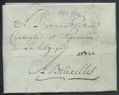 L An 3 Datée De Roeselaer (Roulers) Marque JPRES (Ypres) Pour Bruxelles - 1794-1814 (Periodo Frances)