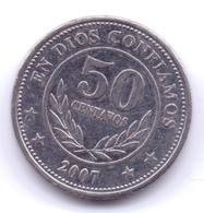NICARAGUA 2007: 50 Centavos, KM 88b - Nicaragua