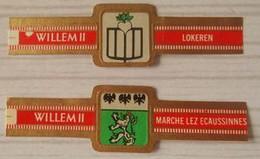 C13 Lot Bagues De Cigares  Willem II   Régions Villes Lokeren Marche Lez Ecaussinnnes  2 Pièces - Sigarenbandjes