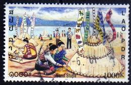 Laos 2001 Ethnologie Religion Cérémonie Du Stupa En Sable 1000 Kip Used Oblitéré - Laos