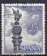 Spagna, 1965 - 25c Columbus Monument - Nr.1280 Usato° - 1931-Aujourd'hui: II. République - ....Juan Carlos I