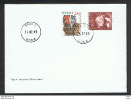 NORWAY: 24.07.1989 FOLDING WITH 2 K.60 + 3 K. PRIMARY SCHOOL (978/79) - FDC