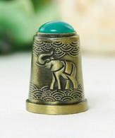 Thimble ELEPHANT Green Decor Solid Brass Metal Russian Souvenir Collection - Ditali Da Cucito