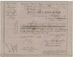 1837 TRAITE OFFICIELLE D'ETAT DE LA MARTINIQUE De 1000 Fr Sur Papier Rose Avec En-tête En Partie Imprimé - ...-1889 Francs Im 19. Jh.
