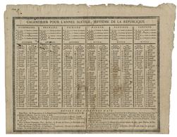 1798/1799 CALENDRIER DE L'AN VII (avec Quelques Petites Taches) Imprimé Par Calmen à Aix En Provence - Groot Formaat: ...-1900