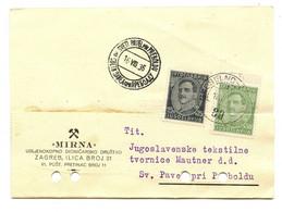Mirna (Zagreb) Company Letter Card Registered Grobelno--Zagreb Railway Pmk Posted 1936 To Sveti Pavel Pri Preboldu - Slovenia