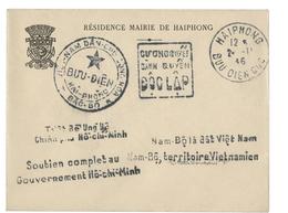 1946 GUERRE D'INDOCHINE SIMILI-DAGUIN DE PROPAGANDE VIET MINH D'HAIPHONG EN NOVEMBRE 1946.  BOMBARDEMENT D'HAIPHONG - Postmark Collection (Covers)
