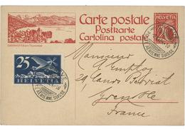 SUISSE Poste Aérienne N° 5 25 Ct Outremer Foncé Et Bleu Clair Sur Carte Entier Postal 20 Ct Rouge - Airmail