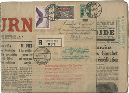 SUISSE Poste Aérienne N° 9 + N° 12 Sur Bande Entier Postal 5 Ct Sur 7 Ct Vert Type Walter Tell - Airmail