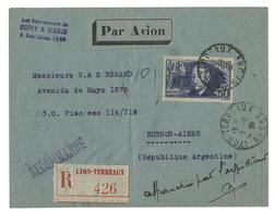 N°398 ADER (bon Timbre) Obl. C.à.d 'Lyon Terreaux 1/6/39' SEUL Sur Env. Recommandée Par Avion Pour L'Argentine - France