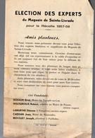 Sainte Livrade (47 Lot Et Garonne) ELECTION DES EXPERTS Pour La Récolte 1957-58 (planteurs) (PPP23848) - Vecchi Documenti