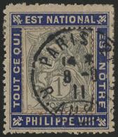 N°107 BLANC 1 Ct Gris Sur PORTE-TIMBRE Bleu à Message Royaliste Pour Philippe VIII D'ORLEANS - 1900-29 Blanc