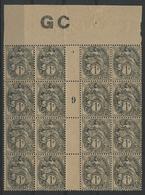 ** N°107e (x16) BLANC Bloc De Seize Du 1 Ct Ardoise Sur Papier GC Avec MILLESIME '9' (1919) COTE 85 € - 1900-29 Blanc
