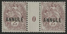 ** N°108 (x2) BLANC Type IB Surchargé 'ANNULE' En Paire MILLESIMEE '0' (1910) TB COTE 110 € - 1900-29 Blanc