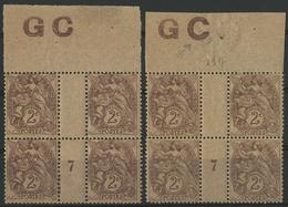 ** N°108 (x8) BLANC INSCRIPTIONS GC DONT UNE AVEC VARIETE. COTE 190 € Voir Description - 1900-29 Blanc
