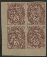 ** N°108la (x4) BLANC BLOC DE QUATRE NON DENTELE Du 2 Ct Brun-lilas Sur Papier GC Type IB. COTE 510 € - 1900-29 Blanc