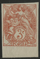 * N°109d BLANC NON DENTELE Orange-rouge Type IB Avec Petit Bord De Feuille Inférieur, Signé A.Brun. TB COTE 70 € - 1900-29 Blanc