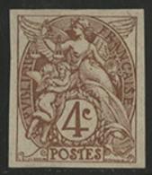 * N°110c BLANC NON DENTELE Brun Clair. Rare. TB COTE 210 € - 1900-29 Blanc