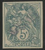 ** N°111 BLANC ESSAI DE COULEUR NON DENTELE Surchargé 'SPECIMEN' En Lilas Clair Sur 5 Ct Vert-bleu Type IA. Très Rare. T - 1900-29 Blanc