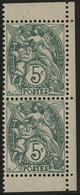 ** N°111f BLANC PAIRE DE CARNET Vert Type IB, Avec Deux Bandelettes Blanches + Bord De Feuille Latéral COTE 88 € - 1900-29 Blanc