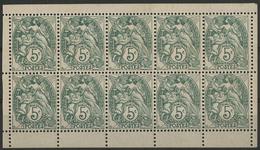 ** N°111f (x5) BLANC FEUILLET DE DIX TIMBRES DE CARNET Au Type IB Avec Toutes Ses Bordures Blanches. TB COTE 440 € - 1900-29 Blanc