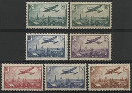 * N°8 à 13 AVION SURVOLANT PARIS Ensemble De 7 Valeurs Car Deux Nuances Du 85ct. TB COTE 173 € - 1927-1959 Mint/hinged