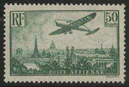 ** N°14 AVION SURVOLANT PARIS 50 Fr Vert-jaune. TB COTE 2000 € - 1927-1959 Mint/hinged