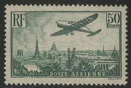 * N°14a AVION SURVOLANT PARIS Vert. Nuance Plus Rare Que Le Vert-jaune. TB COTE 1200 € - 1927-1959 Mint/hinged