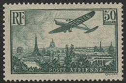 * N°14b AVION SURVOLANT PARIS Vert Foncé. NUANCE RARE, Certificat Miro De 1969. TB COTE 1400 € - 1927-1959 Mint/hinged